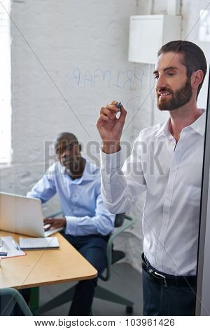 professional businessman writing new startup business ideas on glass presentation board in modern office