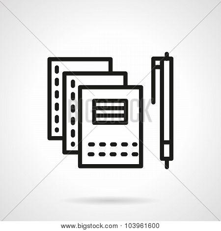 Copybooks and pen black line vector icon.