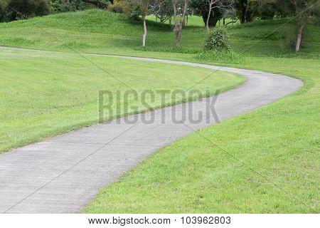Pathway On Green Grass Garden