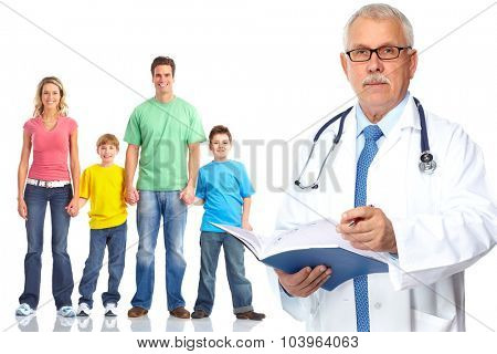 Medical family doctor and patients. Isolated white background.