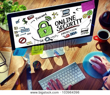 Online Security Protection Internet Safety Office Working Concept