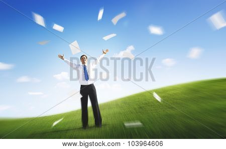 Business Businessman Documents Throwing Happiness Concept