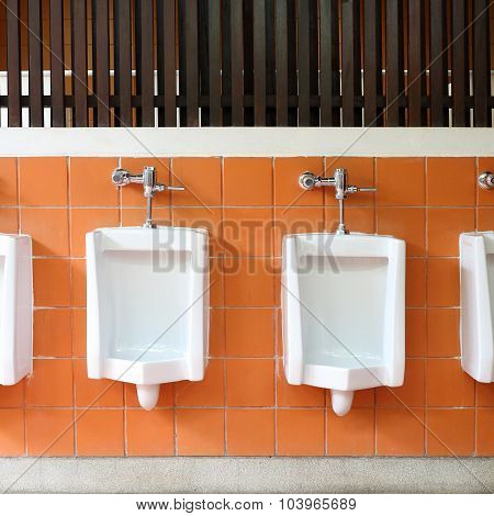 Decor Interior Of White Urinals In Men Bathroom Toilet