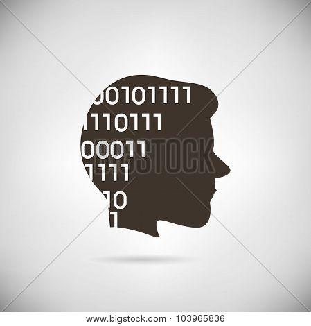 binary number in man head