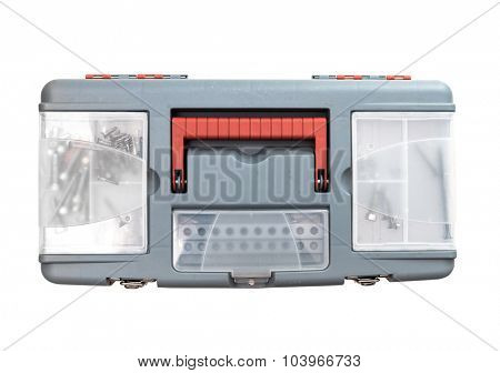 plastic tool box. Isolated on white. top view