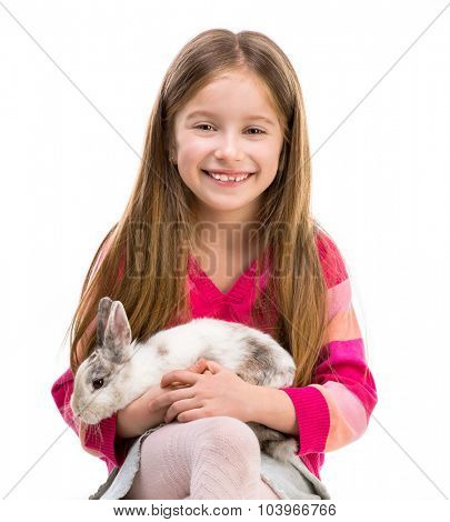cute smiling girl in a crimson sweater  with baby rabbit isolated over white background close-up