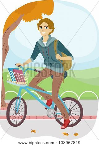 Illustration of a Teenage College Student Going to School on His Bike