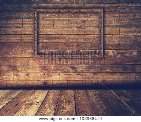 dark wooden interior with frame, retro filtered, instagram style
