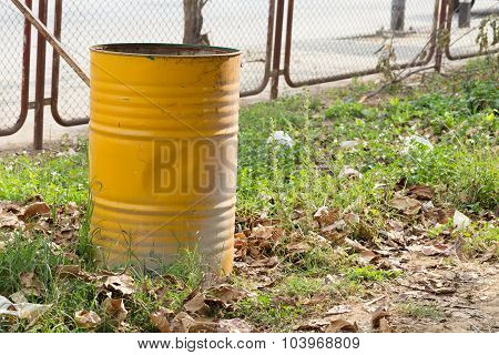 Yellow Trashcan Of Recycle Old Fuel Tank
