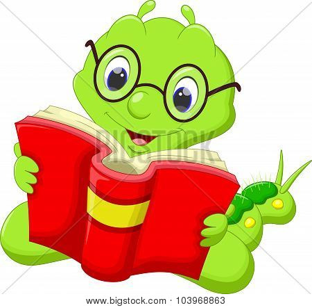 Cartoon caterpillar reading a book