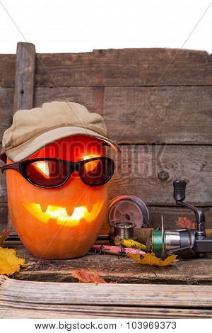 Halloween Pumpkin In Hat With Fishing Tackles