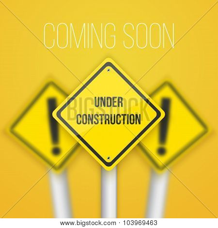 Photorealistic Vector Website Coming Soon Road Sign. Website Und