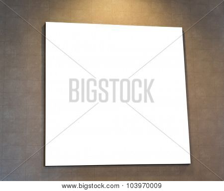 Blank black sign on wall