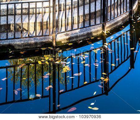 Pond And Metal Railing Reflection
