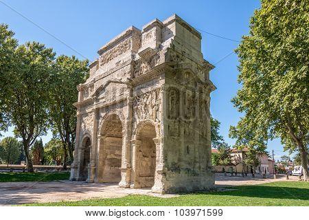 Ancient Roman Triumphal Arch Of Orange - France