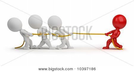 3D Small People - Rope Pulling