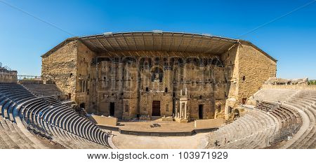 Panoramic View At The Roman Theatre In Orange - France