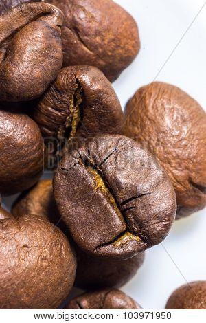 Macro Closeup Of Roasted Coffee Beans