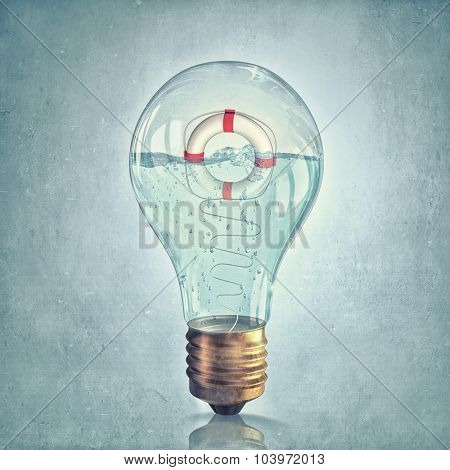 Glass light bulb filled with water with floating life buoy