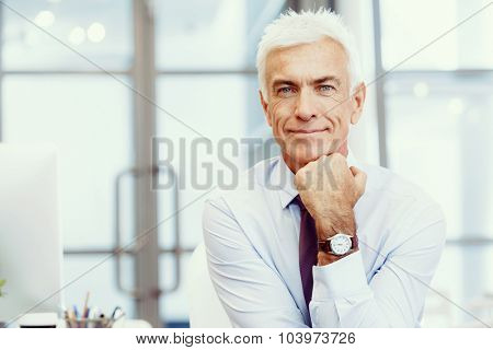 Businessman standing in office smiling at camera