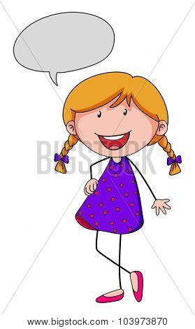 Little girl with speech bubble illustration