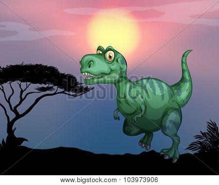 Tyrannosaurus rex in the field illustration
