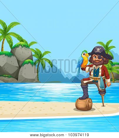 Pirate and parrot on the beach illustration