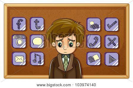 Sad man and board full of symbols illustration