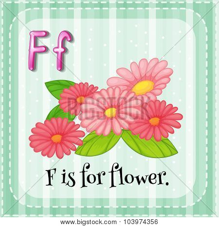 Alphabet F is for flower illustration