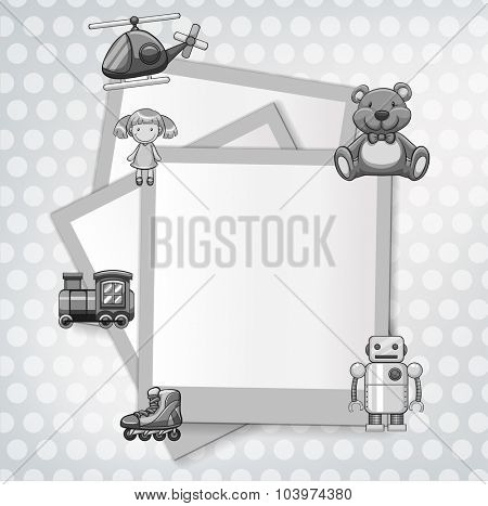 Border template with toys theme illustration