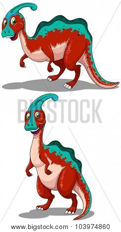 Red parasaurolophus in two poses illustration