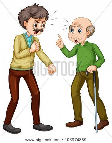 Two old men fighting illustration