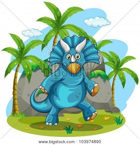 Blue rubeosaurus standing on grass illustration