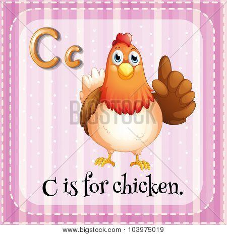 Alphabet C is for chicken illustration