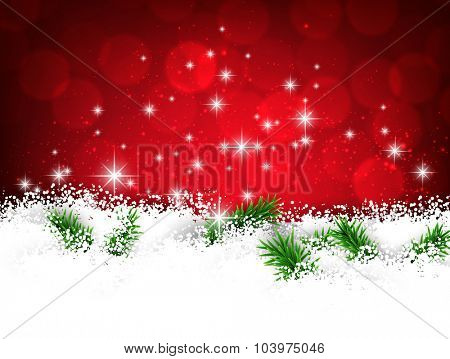 Winter red abstract background. Christmas defocused illustration with snowflakes. Vector banner with place for text.