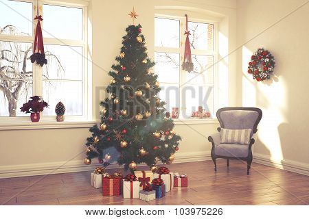 Apartment - Living Room - Christmas - Retro Look