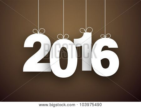 Happy 2016 new year word hanging on threads. Vector paper illustration.