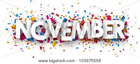 November sign with colour confetti. Vector paper illustration.