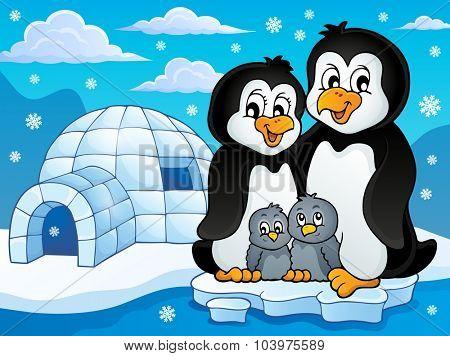 Penguin family theme image 2 - eps10 vector illustration.