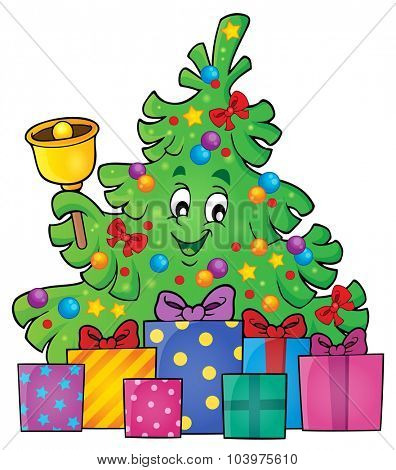 Christmas tree and gifts theme image 3 - eps10 vector illustration.
