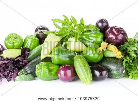 Fresh farmers garden vegetables and herbs. Isolated on white background