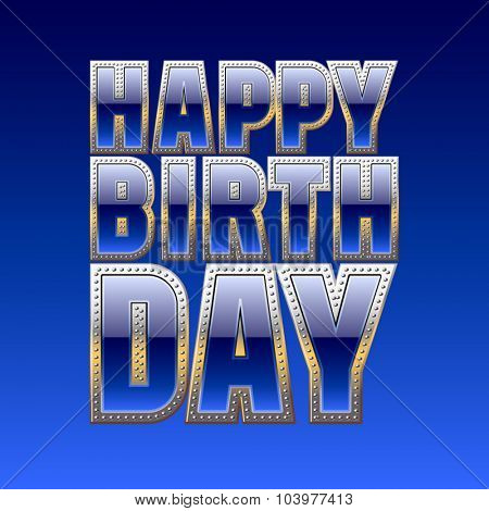 Happy birthday vector card with posh blue and gold font
