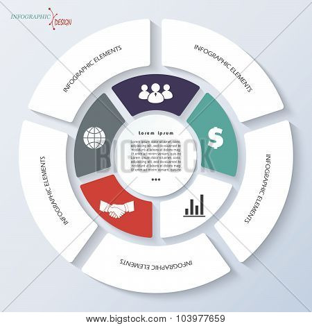 Infographic Template For Business Project Or Presentation With Circle And Five Segments.