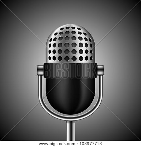 Vector Microphone On Dark Background