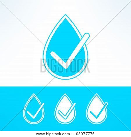 Vector set of water drops with checkmark made in modern flat design. Organic and ecology concept ele