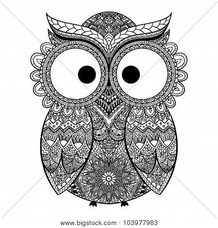 Vector illustration of owl. Bird illustrated in tribal.Owl whith flowers on light background. Shaped