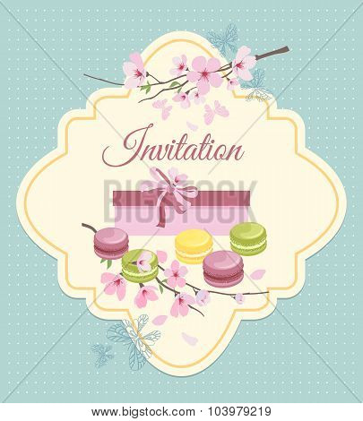 Invitation card to tea party with flowers and french macaroons in vintage nostalgic style