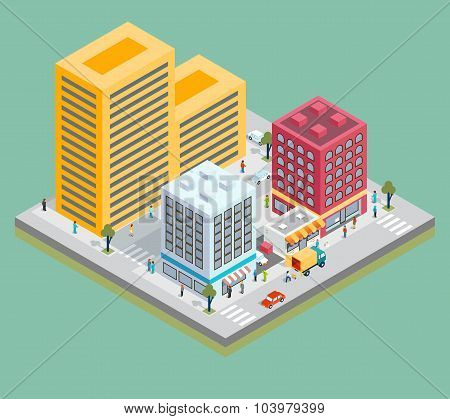 Isometric city center map with buildings, shops and roads