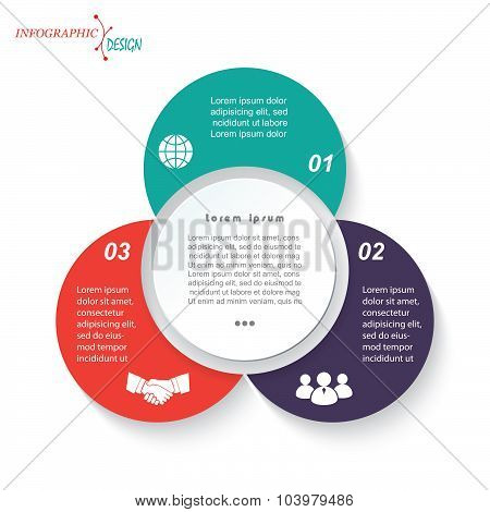 Infographic Business  Template For  Project Or Presentation With Three Circle Segments. Vector Illus