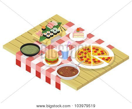 Food isometric icons on table
